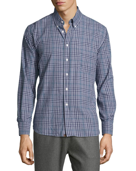 Billy Reid Tuscumbia Plaid Long-Sleeve Sport Shirt, Navy