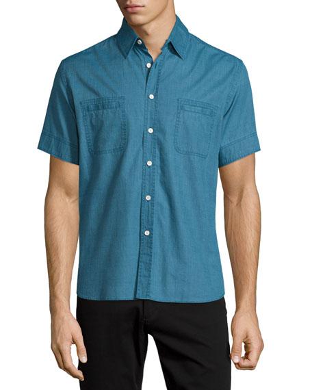 Billy Reid Short-Sleeve Cotton Shirt, Dark Teal