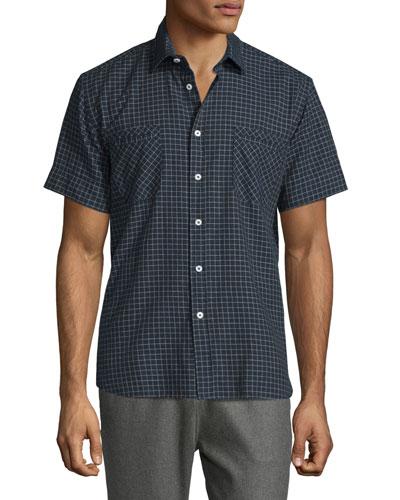 Check Short-Sleeve Woven Shirt, Navy