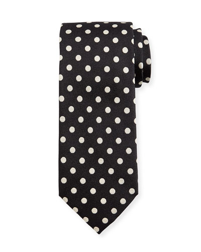 Large Dot-Print Silk Tie, Black