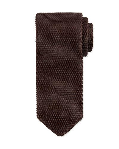 Textured Knit Tie, Brown