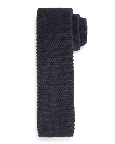 TOM FORD Silk Knit Flat-End Tie, Charcoal