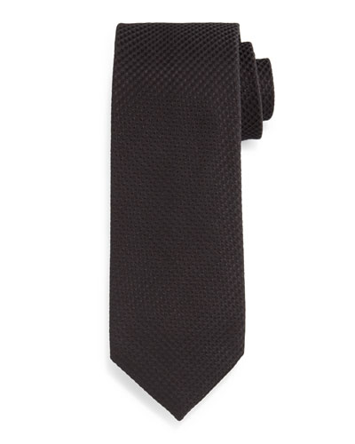 Textured Solid Silk Tie, Black