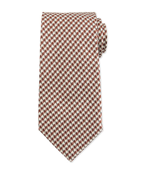 TOM FORD Houndstooth-Print Silk Tie, Orange