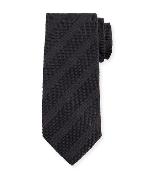 Textured Diagonal-Stripe Silk Tie, Black