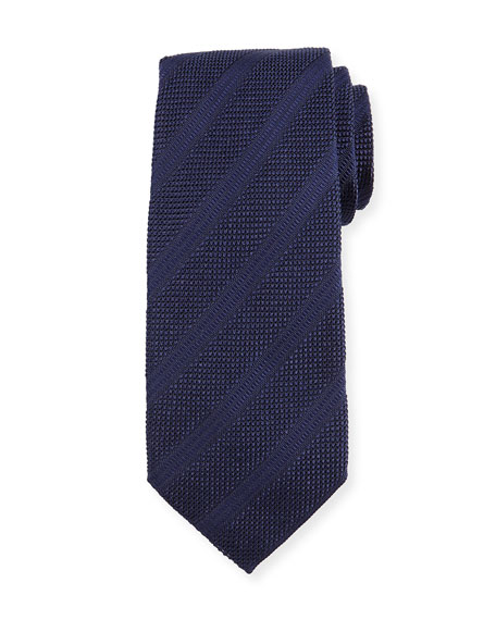 Textured Diagonal-Stripe Silk Tie, Slate