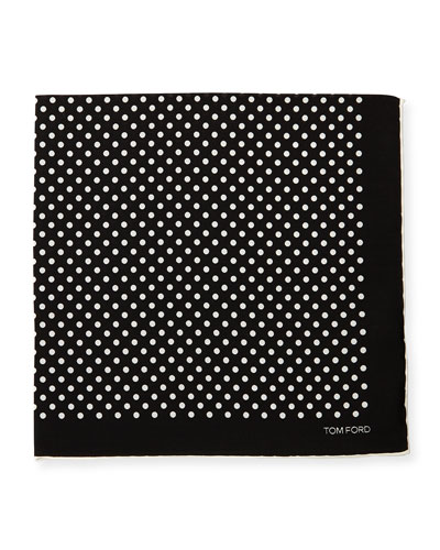 Polka-Dot Silk Pocket Square, White/Black