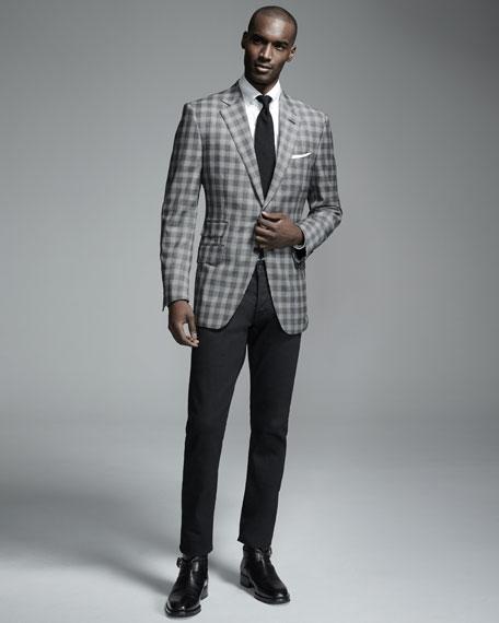 Solid Silk Pocket Square, White/Gray
