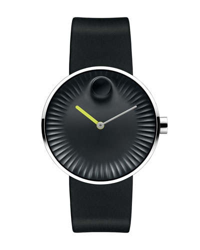 40mm Edge Watch with Rubber Strap, Black/Green