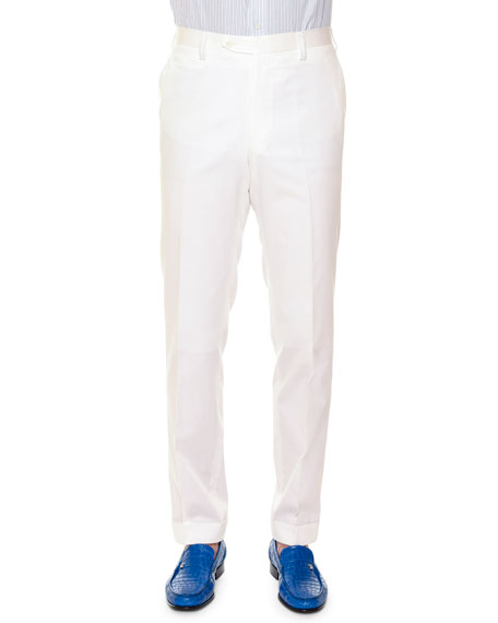 Flat-Front Wool Sport Trousers, White