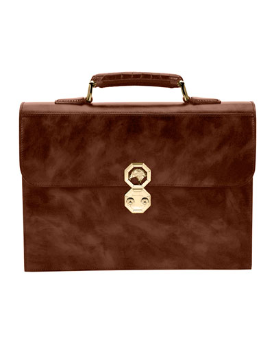 Leather Flap Briefcase, Brown