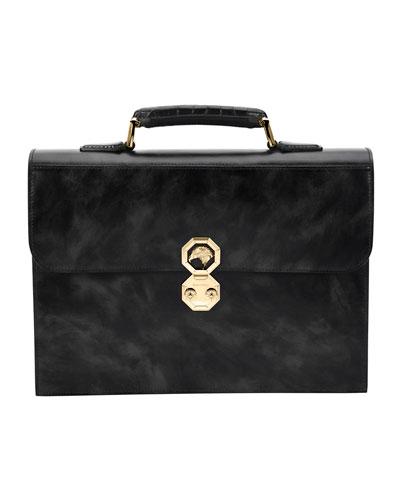 Leather Briefcase W/Crocodile Handle, Black