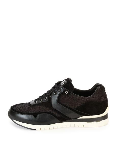 Python & Leather Trainer Sneaker, Black