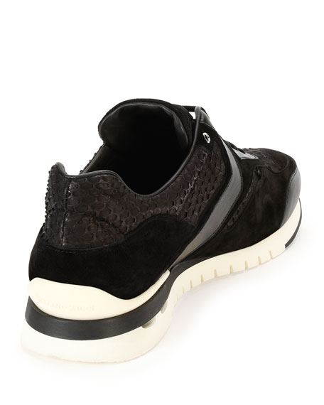 Python & Leather Trainer Sneaker, Black