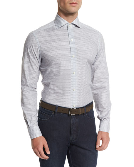 Ermenegildo Zegna Mini Coffee-Pot Printed Sport Shirt, Light Gray