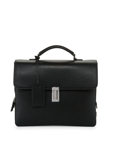 Prada Saffiano Leather Single-Gusset Briefcase, Black