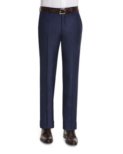 Classic Flat-Front Wool Trousers, Navy