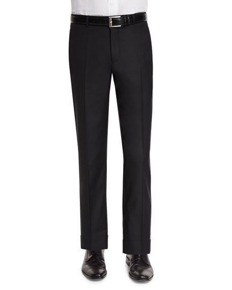 Neiman Marcus Classic Flat-Front Wool Trousers, Black