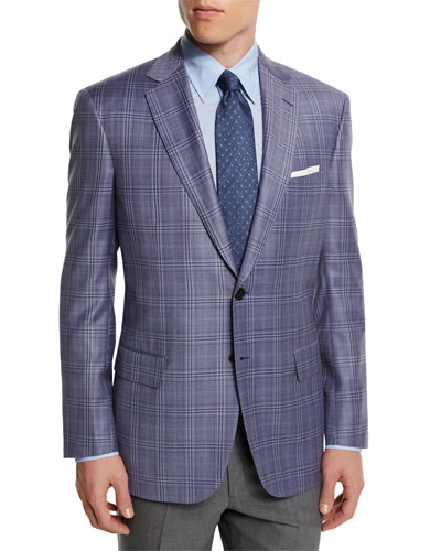 Colosseo Plaid Two-Button Wool Sport Coat, Lavender