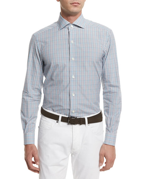 Ermenegildo Zegna Open-Check Long-Sleeve Sport Shirt, Teal