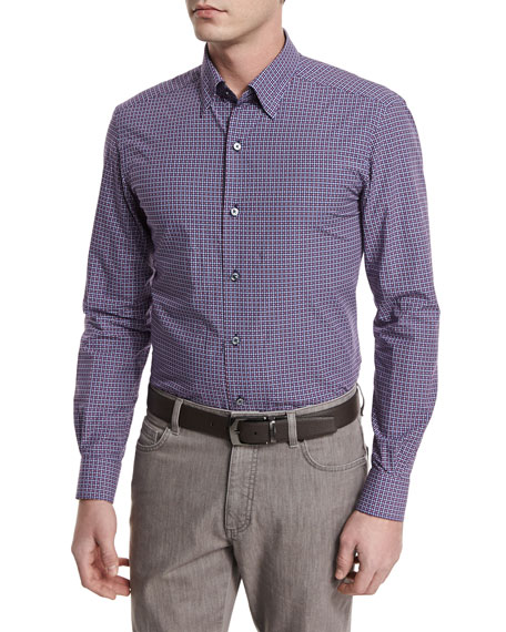 Ermenegildo ZegnaJacquard-Check Long-Sleeve Sport Shirt, Navy