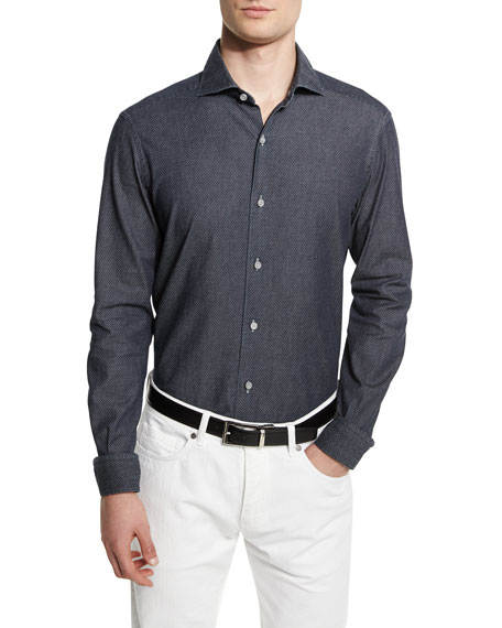 Ermenegildo Zegna Jacquard Long-Sleeve Denim Sport Shirt, Dark Indigo