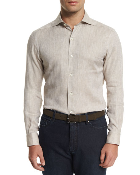 Ermenegildo Zegna Linen Long-Sleeve Sport Shirt & Cotton-Silk
