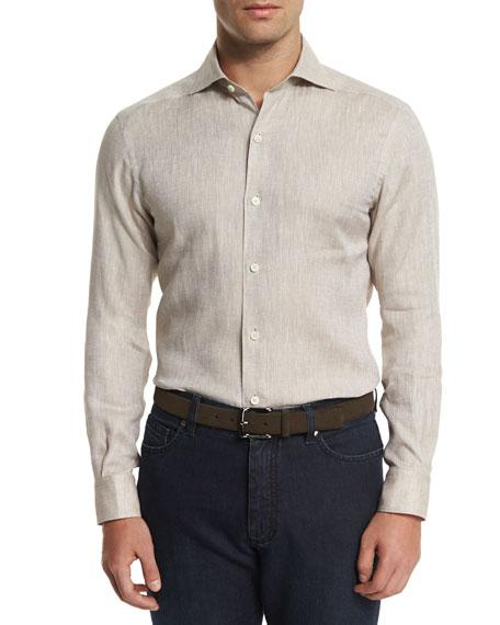 Ermenegildo Zegna Linen Long-Sleeve Sport Shirt & Cotton-Silk