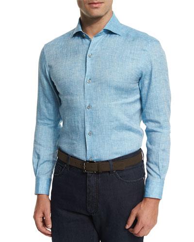 Linen Long-Sleeve Sport Shirt, Teal