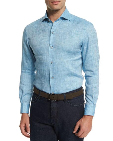 Ermenegildo Zegna Linen Long Sleeve Sport Shirt Teal