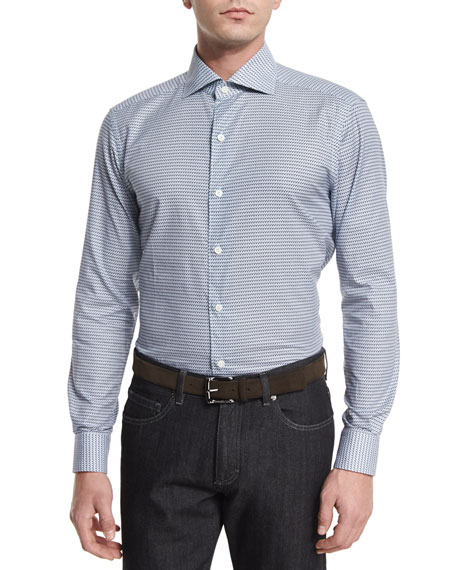 Ermenegildo Zegna Fishing-Print Long-Sleeve Sport Shirt, Navy
