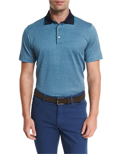 Birdseye Short-Sleeve Jersey Polo Shirt, Teal