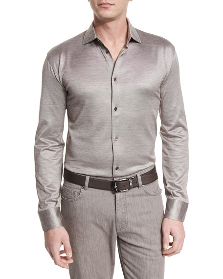 Ermenegildo Zegna Cotton/Silk Long-Sleeve Sport Shirt, Light Brown