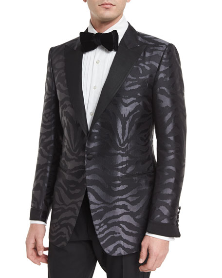 TOM FORDO'Connor Base Tonal Zebra-Print Silk Sport Jacket,
