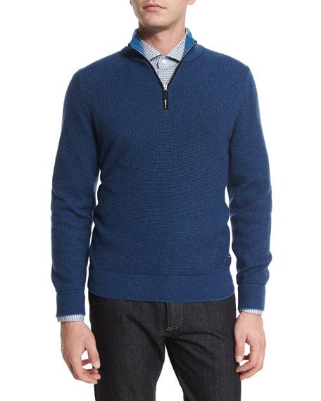 Ermenegildo Zegna Waffle-Knit Quarter-Zip Pullover Sweater, Navy