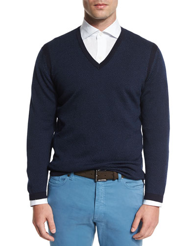 Textured Cashmere-Blend V-Neck Sweater, Navy