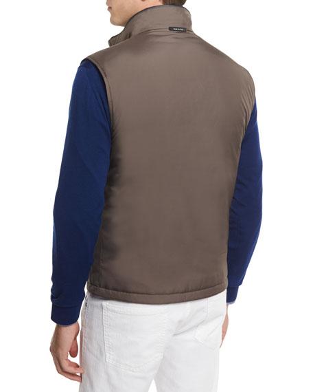 Reversible Wool Vest, Medium Blue/Beige