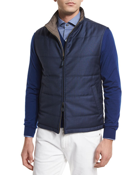 Ermenegildo Zegna Reversible Wool Vest, Medium Blue/Beige