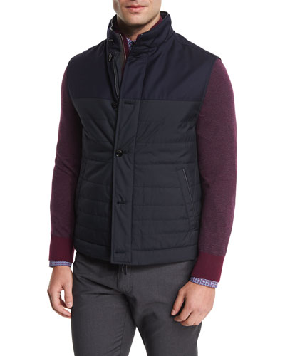 Degrade-Paneled Wool Vest, Navy