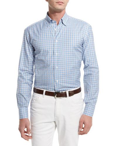 Geo-Check Long-Sleeve Sport Shirt, Light Blue/Gray