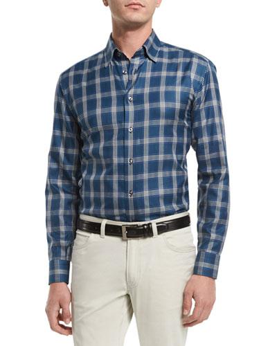 Plaid Long-Sleeve Sport Shirt, Teal