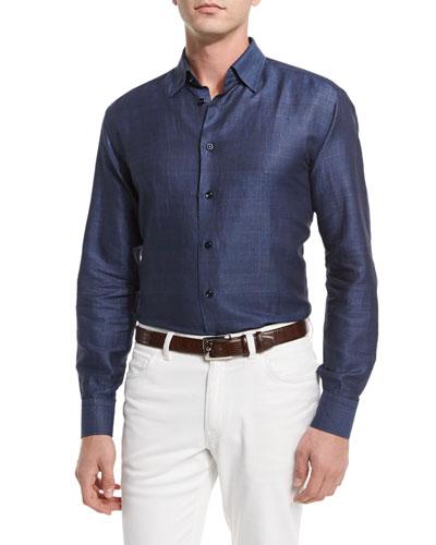 Linen/Cotton Jacquard Plaid Sport Shirt, Navy