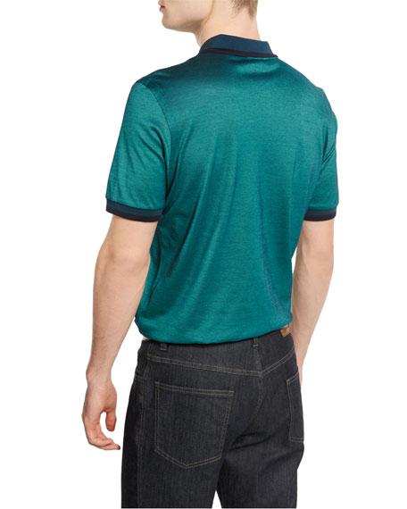Brioni Tape-Tipped Zip Polo Shirt, Green