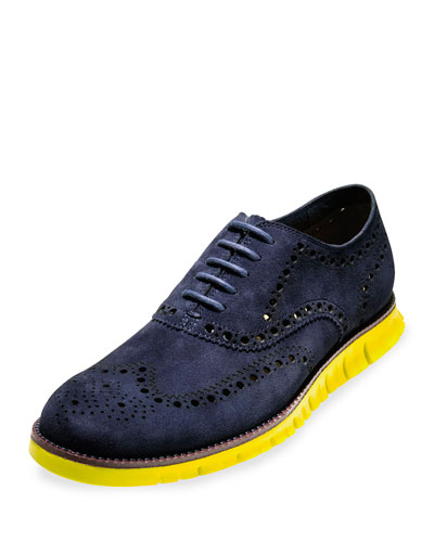 ZeroGrand Suede Wing-Tip Oxford, India Ink
