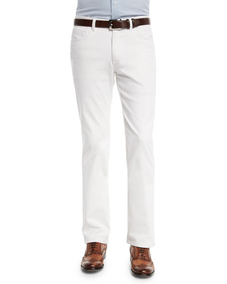 Brioni Five-Pocket Poplin Stretch Pants, White
