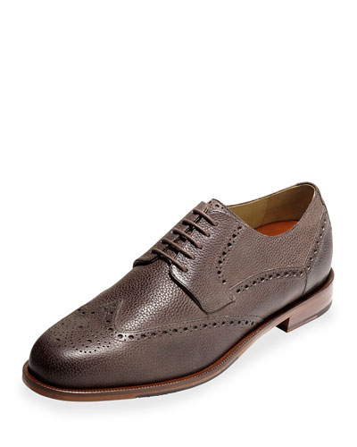Carter Pebbled Leather Wing-Tip Oxford, Chestnut Grain