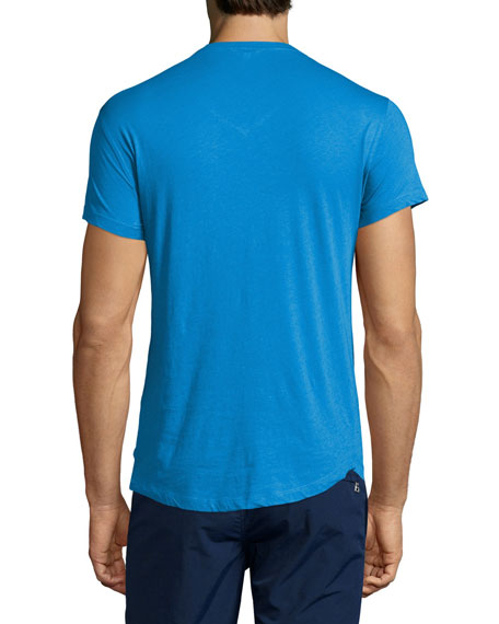 Short-Sleeve V-Neck T-Shirt, Butterfly Blue