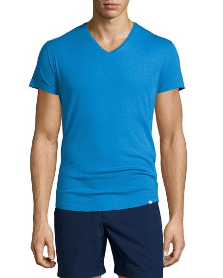Orlebar Brown Short-Sleeve V-Neck T-Shirt, Butterfly Blue