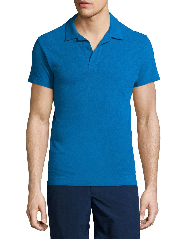 10d558be Orlebar Brown Felix Johnny-Collar Short-Sleeve Polo Shirt, Butterfly Blue