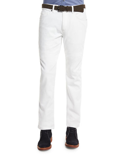 Five-Pocket Slim-Fit Jeans, White